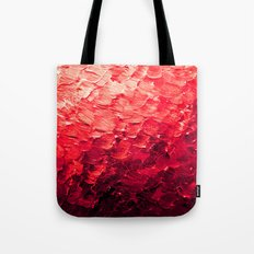 MERMAID SCALES 4 Red Vibrant Ocean Waves Splash Crimson Strawberry Summer Ombre Abstract Painting Tote Bag