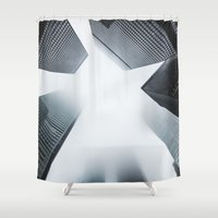 cityscape Shower Curtains featuring Cityscape by General Design Studio