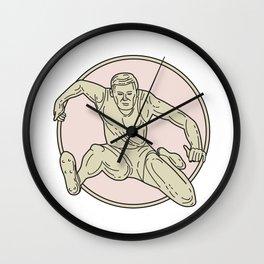 Track and Field Athlete Hurdle Circle Mono Line Wall Clock
