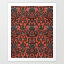 Aya damask orange Art Print