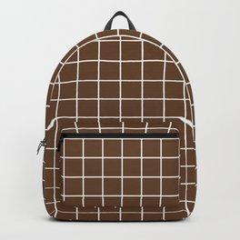 Van Dyke brown - brown color - White Lines Grid Pattern Backpack
