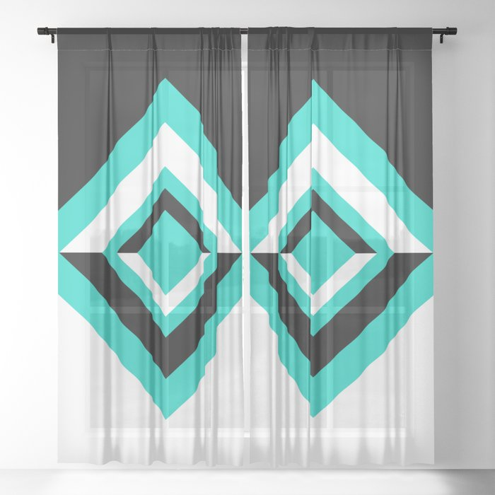 Teal Black and White Diamond Shapes Digital Illustration - Artwork Sheer Curtain