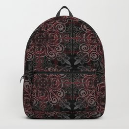 Floral08 Burgundy Red Backpack