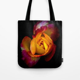A  rose undecided on what color to be Tote Bag