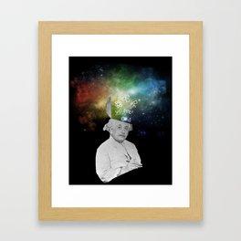 Albert Einstein With A Rainbow Galaxy Framed Art Print
