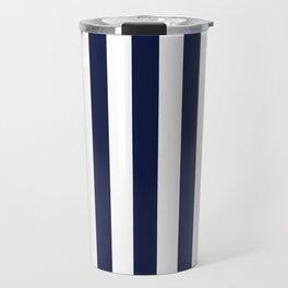 Maritime pattern- darkblue stripes on clear white - vertical Travel Mug