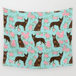 Kelpie florals dog breed cute gifts pattern dog lover pet portraits pet friendly designs Wall Tapestry
