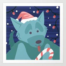 Christmas Dog - version 2 Art Print