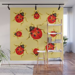 CREAMY YELLOW ART  RED LADY BUGS  DESIGN Wall Mural