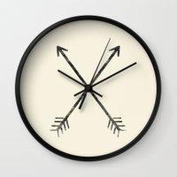 arrows Wall Clocks featuring Arrows by Zach Terrell