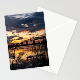 Sun sets on the bridge Stationery Cards