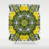 marc johns Shower Curtains featuring Kaleidoscope of showy St Johns Wort  by Wendy Townrow