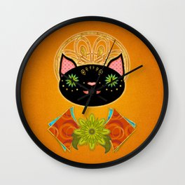 Smiling Black Cat Wall Clock