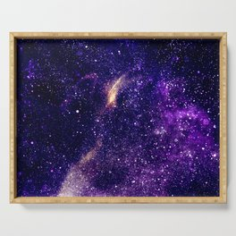 Ultra violet purple abstract galaxy Serving Tray