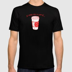 I miss you a latte Black MEDIUM Mens Fitted Tee