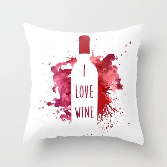 wine bottle Throw Pillow