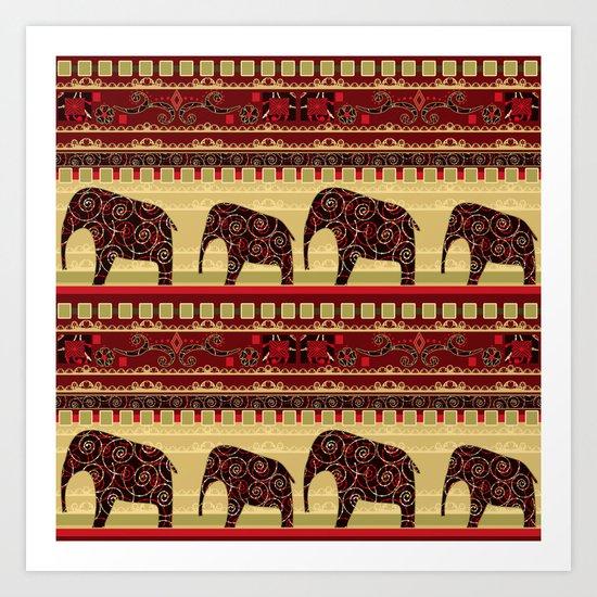 "African ornament . ""Elephants"" . Art Print"