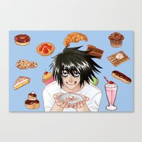 death note Canvas Prints featuring L from Death Note by Naineuh
