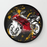 ducati Wall Clocks featuring Ducati 1098 2008 by Larsson Stevensem