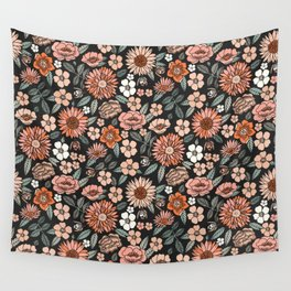 70s flowers - 70s, retro, spring, floral, florals, floral pattern, retro flowers, boho, hippie, earthy, muted Wall Tapestry