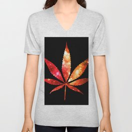 Weed : High Times orange red pink  Galaxy Unisex V-Neck
