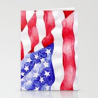 american flag Stationery Cards featuring American Flag by Bridget Davidson