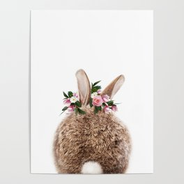 Bunny Tail, Baby Rabbit, Bunny With Flower Crown, Baby Animals Art Print By Synplus Poster