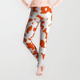 Spots - White and Dark Orange Leggings