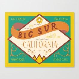 Big Sur Vintage Lettering Canvas Print