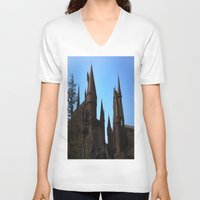 hogwarts V-neck T-shirts featuring Hogwarts by Blue Lightning Creative