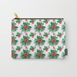 Green red orange Christmas sweet candy holy floral Carry-All Pouch