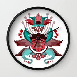 Kurbits Red/Turquoise Wall Clock