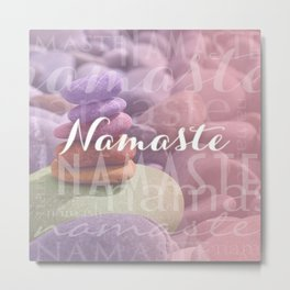 Namaste Meditation Stones Typography Collage Metal Print