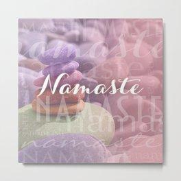 Namaste Meditation Stones Typography Collage Metal Print
