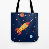 spaceship Tote Bags featuring Spaceship! by Doodle Dojo
