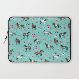 Hand drawn horses, Flower horses, Floral Pattern, Aqua Blue Laptop Sleeve