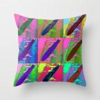 led zeppelin Throw Pillows featuring Zeppelin Warhol by Sara PixelPixie