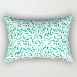 Fresh tea leaves || watercolor nature pattern Rectangular Pillow