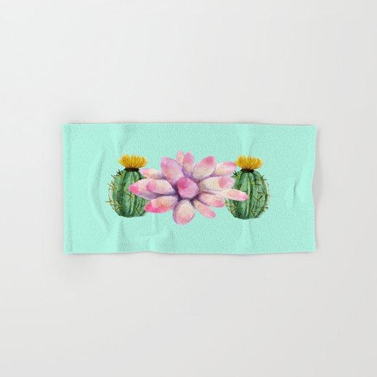 Watercolor cactus  Hand & Bath Towel