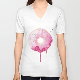 Glazed Pink Donut Unisex V-Neck
