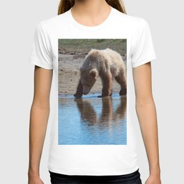 Grizzly Cub Drinking from Stream  Alaska Katmai National Park #Socety6 T-shirt