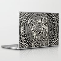 frenchie Laptop & iPad Skins featuring Polynesian  Frenchie by Huebucket
