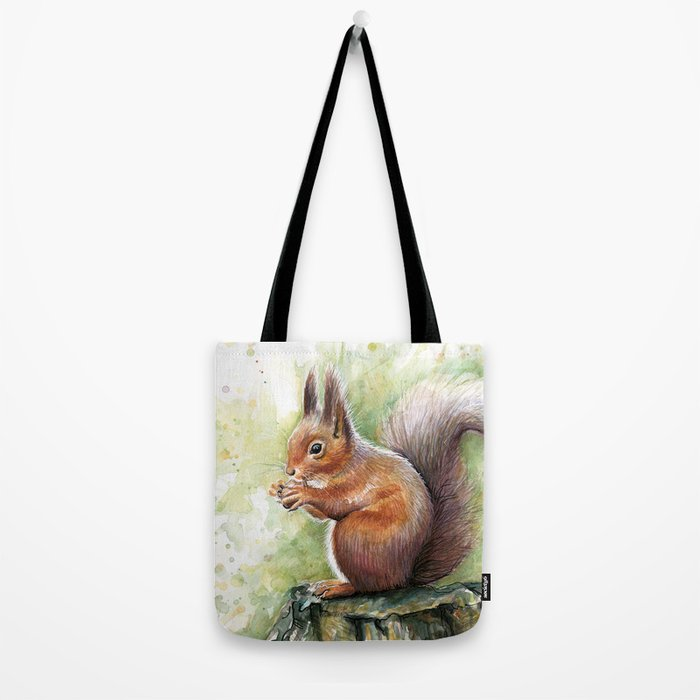 Squirrel and Nut Forest Animals Watercolor Tote Bag