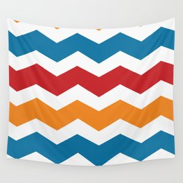 Blue Red Orange Chevron Wall Tapestry