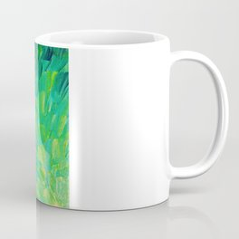 SEA SCALES in GREEN - Bright Green Ocean Waves Beach Mermaid Fins Scales Abstract Acrylic Painting Coffee Mug