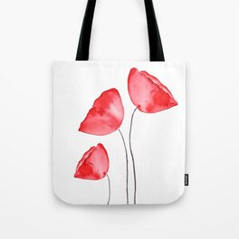 3 red poppies watercolor Tote Bag