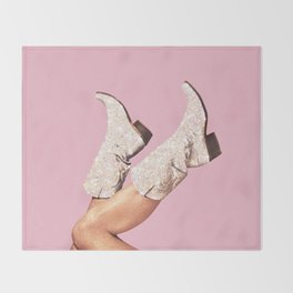 These Boots - Glitter Pink Throw Blanket