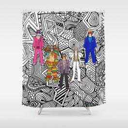 5 Tiny Rocket Dancers w/ Sunglasses Shower Curtain