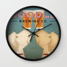 Goldendoodle Labradoodle Doodle Brewing Co. Beer Sign Wall Clock