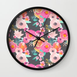 Indy Bloom Design Blush Grey Florals Wall Clock